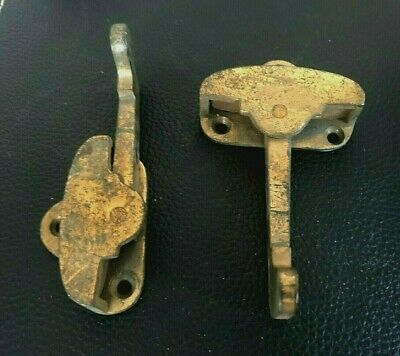 Antique 1900s Cast Brass Victorian Window Sash Lock Latch (2) Rotating Arms