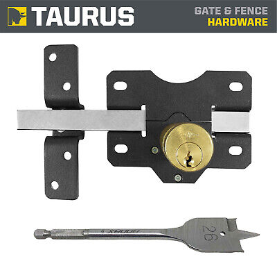Long Throw Double Sided Cylinder Gate & Door Lock + Fixings, Keys & Drill Bit