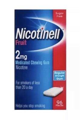 Nicotinell nicotine Gum. 2mg Fruit . 4x96 Pieces. 384 Gums