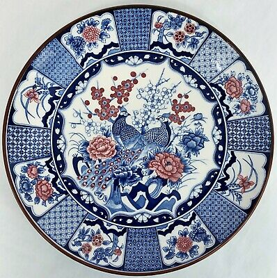 Japanese Imari Style Porcelain Display Plate With Two Peacocks & Pink Roses