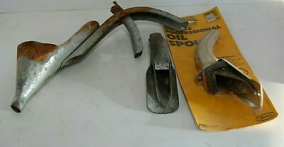 3 Vintage Car Truck Service Station Oil Can Openers Spout Nozzles Funnels