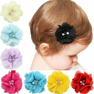 10Pcs Baby Girls Chiffon Flowers with Pearl Infant Hairpins Headwear Hair Clips
