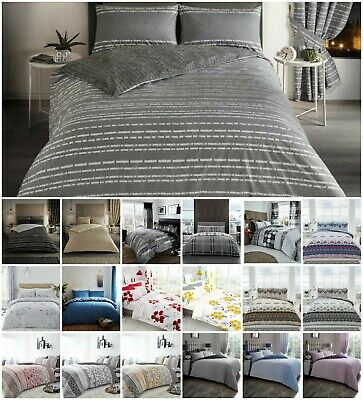 DUVET COVER SET DOUBLE Modern Quilt Bedding Bed + Pillowcase Grey Black Silver