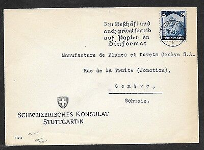 Germany #451 Return of the Saar 25pf on 1935 cover to Switzerland with label