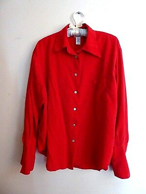 8c67241edc889f EXPRESS vintage 90s red button down silk dress shirt unisex medium large xl  xxl