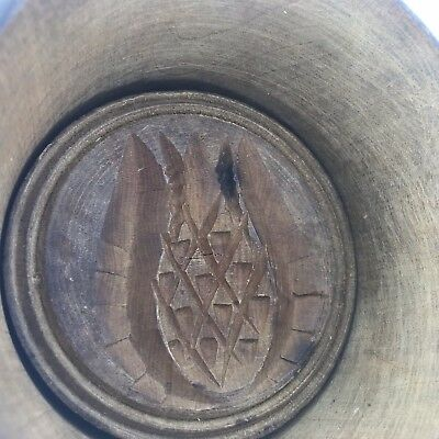 Antique Treenware Vintage LG Wood Butter Mold Pineapple Pattern Pennsylvania