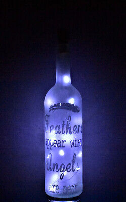 Frosted Decorative Wine Bottle with a Angel Themed design & Battery LED's