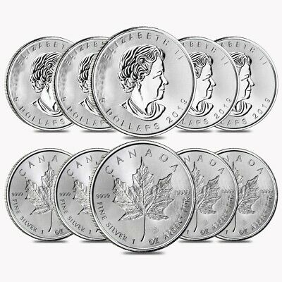 Lot of 10 - 2019 1 oz Silver Canadian Incuse Maple Leaf .9999 Fine $5 Coin BU