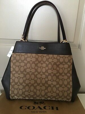 e2ef578e30 NWT COACH 💯%Authentic Lexy Signature Outline Fabric Leather Shoulder Bag  Tote