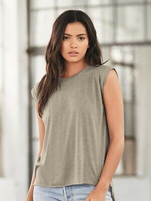 937d962cab4 BELLA + CANVAS 8804 Women s Flowy Muscle Tee with Rolled Cuffs ...