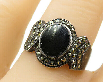 925 Sterling Silver - Vintage Black Onyx Inay Hand Carved Band Ring Sz 8 - R6182