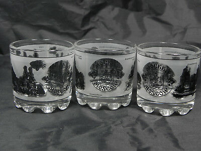 Lot of 3 MOSCOW Russian Shot Glasses Collectible Souvenir Famous Landmarks
