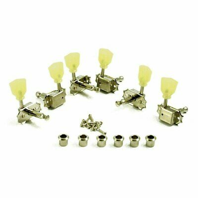 Kluson Guitar Tuning Pegs Machines 3+3 Nickel Pearl Green Keystone Knob Les Paul