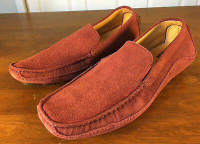 aa561a3c4b6 Saks Fifth Avenue Men s Driver Loafers Slip On Suede Red Burgundy Shoes Size  10M