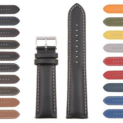 StrapsCo Classic Mens Leather Watch Band - Quick Release Men's Strap