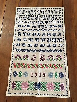 "Antique Sampler Alphabet Multi Colored 1919 24"" Long"
