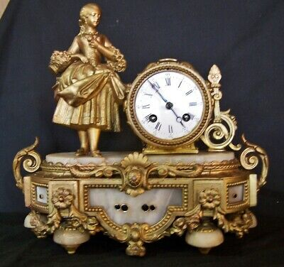 Antique Gold Gilt Bronze Figural French Mantel Clock P MOUREY Signed c1875 WORKS