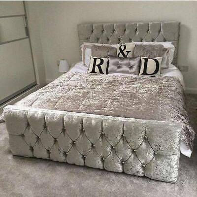 Crushed Velvet Upholstered Designer Bed Frame With Wood Slat Base
