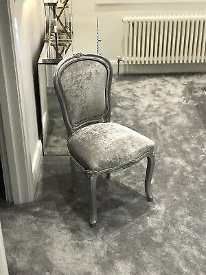 Louis XV Silver Brushed Velvet Vintage French Chair Shabby Chic