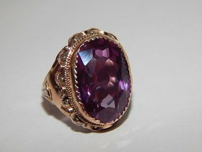 Huge Antique Imperial Woman's Jewelry Ring Russian Gold 56 14K Natural GemStone
