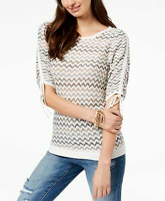 b15a6516229e3e INC  79 Womens New 1582 Ivory Printed Boat Neck Ruched Short Sleeve Top S B+