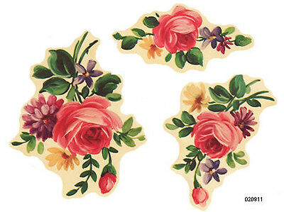 VinTaGe IMaGe XL RePrO RoSe FLoRaL BouQueTs ShaBby WaTerSLiDe DeCALs 1 FurNiTuRe