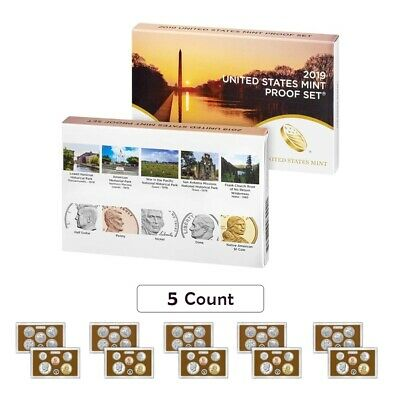 """Lot of 5 - 2019 US Mint Proof 10-Coin Set Comm. (w/o Lincoln """"W"""" Penny)"""