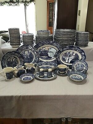 Vintage Liberty Blue Staffordshire Ironstone China 134 pieces