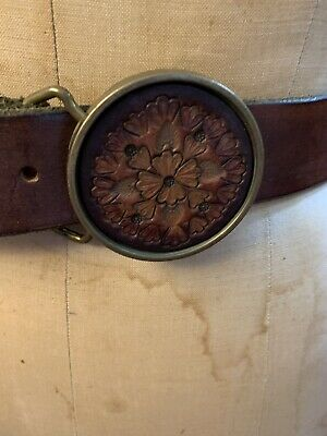 Vintage Brown Leather Belt With Bts Brass Buckle