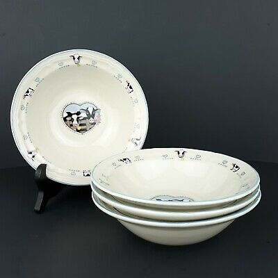 Tienshan Stoneware Buttercup Holstein Cow Cereal Bowls Set of 4