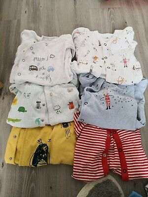 NEXT Baby boys Babygrow/Sleepsuits Bundle 0-3 Months 6 in total