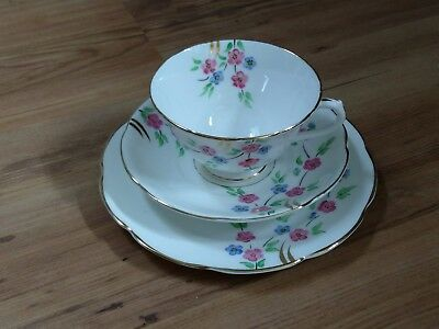 Vintage Collingwoods Bone China Trio White Blue Pink Floral VGC
