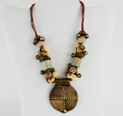 Vintage Egyptian Revival Multi Strand Dangle Faux Bone Beads Bells Necklace