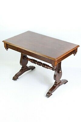 Antique Victorian Mahogany Writing Table -Trestle Stretcher Sofa Hall Table Desk
