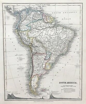 Antique Map SOUTH AMERICA c1850 by Orr engraved by J Dower original outline col