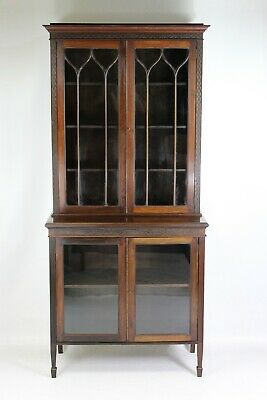 Antique Edwardian Mahogany Bookcase - Bureau Display Cabinet Cupboard Secretaire