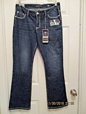 044027da Lee Platinum Label Mid Rise Jeans Women Barely Bootcut Embroidered Eclipse  SZ 12