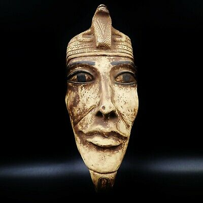 Stunning X-LARGE Antique Egyptian Pharaoh Mask Bust Figure