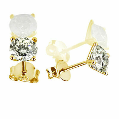 1.7 Ct Brilliant Solitaire Round Diamond 14K Yellow Gold Promise Stud Earrings