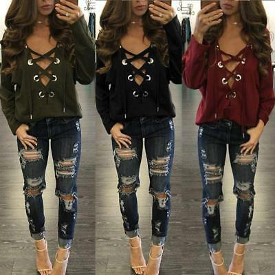 Women Long Sleeve Lace Up Deep V Neck Casual Loose T Shirt Blouses Tops BS