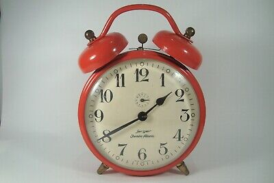 Vintage decorative German Red Jerger Alarm Clock 1960s Collectible