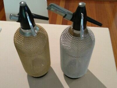 2 Vintage Glass & Wire Mesh Soda Bottles with cartridge holder and 6 cartridges