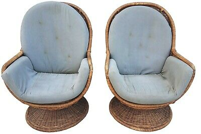 Outstanding Pair Of Swivel Egg Pod 1960S 70S Vintage Rattan Cane Chairs Pabps2019 Chair Design Images Pabps2019Com