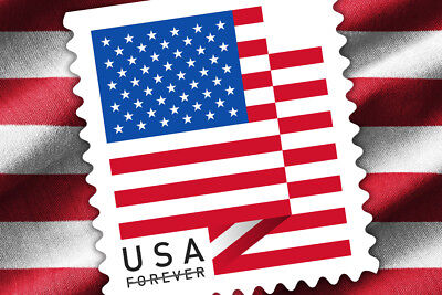 2 Coils / 200 Stamps USPS Forever 1st Class Postage US Flag 2018, Sealed Roll