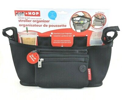 NWT Black Skip Hop Grab and Go Attachable Stroller Organizer with Cup Holder New
