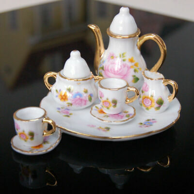 8pcs/Sets Porcelain Tea Set Teapot Vintage Style Coffee Teacup Retro Floral Cups