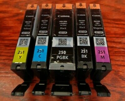 Canon PGI 250 CLI 251 CMYK Ink Cartridges Set of 5 OEM NEW Genuine Sealed Setup