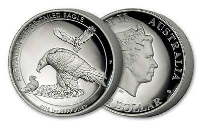 2018 Australian 1 oz Silver Wedge Tailed Eagle High Relief Proof w/ Box & COA