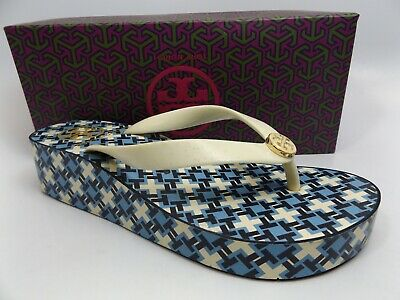82d1ee8ac8d8 TORY BURCH Printed Cut-Out Wedge Flip Flop Sandals Women s SZ 6.0 M D9944