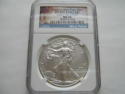 2014(W) , Silver Eagle , NGC , MS 70 ,  Struck at West Point Mint ,Early Release
